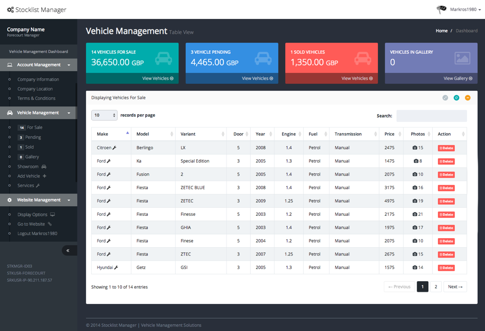 Dealer Dashboard